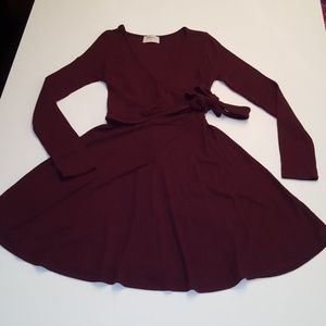 Everly Burgundy Tie Wrap Long Sleeve Sweater Dress